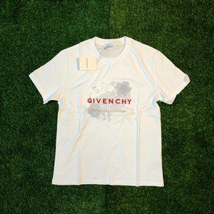 Givenchy Men Chest Embroidery White T-Shirt